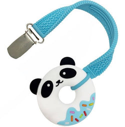 Mini Blue Panda Donut Teether and Strap Set