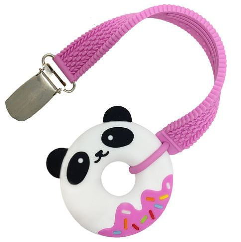 Mini Pink Panda Donut Teether and Strap Set