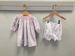 Long Sleeve Pink/Grey Floral Smocked Dress w/French Knots Dress Renzo - Oma's Classic Children's Clothing
