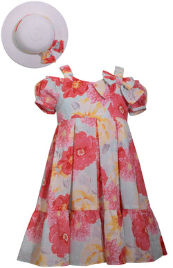 Floral Cold Shoulder Dress with Hat Dress Bonnie Jean - Oma's Classic Children's Clothing