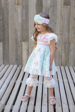 English Rose Lace Trim Dress w/ Headband and Capris Girl Sets Serendipity - Oma's Classic Children's Clothing
