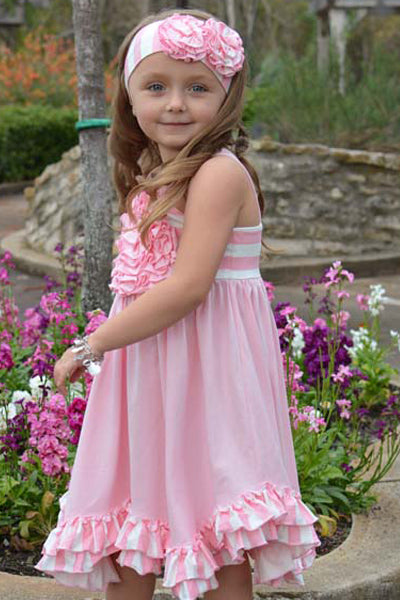 English Rose Rosette Knit Swing Dress w/ Headband Dress Serendipity - Oma's Classic Children's Clothing