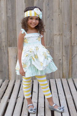 Cottage Chic Summer Tunic w/ Headband and Capris Girl Sets Serendipity - Oma's Classic Children's Clothing