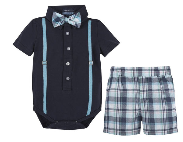 Navy Polo Shirtzie & Woven Short (Includes Bow Tie) Baby Set Andy & Evan - Oma's Classic Children's Clothing