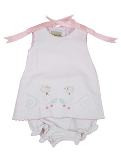 Cassie Pink Pique Popover Girl Sets Marco & Lizzy - Oma's Classic Children's Clothing