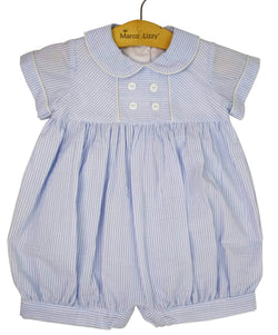 Blue Seersucker Baby Boys Romper Romper Marco & Lizzy - Oma's Classic Children's Clothing