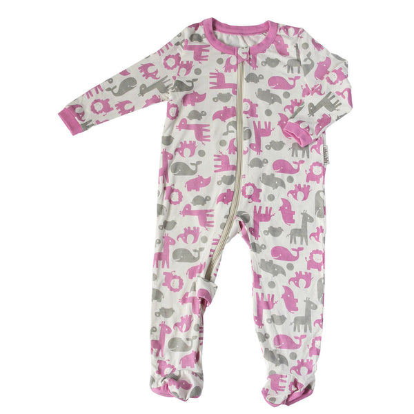 Bamboo Animal Printed Footies Sleepwear Silkberry Baby - Oma's Classic Children's Clothing