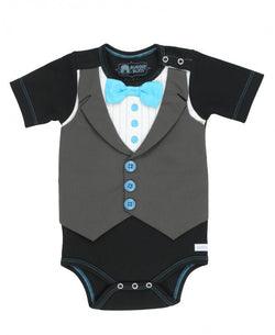 Black Tuxedo One-Piece Bodysuits Rugged Butts - Oma's Classic Children's Clothing