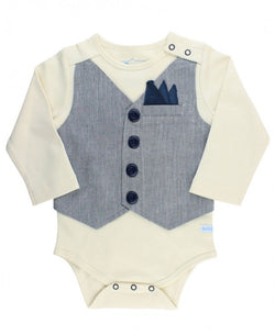 Hamilton Herringbone Vest Bodysuit Bodysuits Rugged Butts - Oma's Classic Children's Clothing
