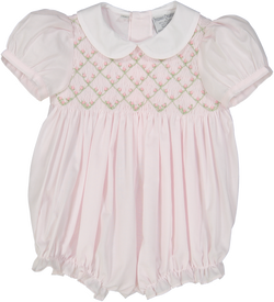 Diamond Smocked Rosebud Bubble Bubble Feltman Brothers - Oma's Classic Children's Clothing