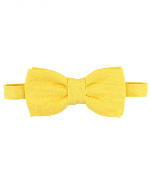 Yellow Linen Blend Bow Tie