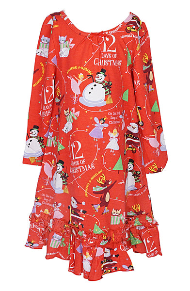 12 Days of Christmas Nightgown w/Book Sleepwear Books to Bed - Oma's Classic Children's Clothing