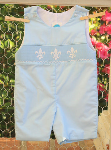 Blue Fleur De Lis Smocked Jon Jon Shortall Krewe - Oma's Classic Children's Clothing