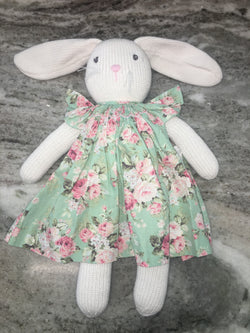 Bunny Wearing Smocked Floral Bishop Dress Toys & Gifts Renzo - Oma's Classic Children's Clothing