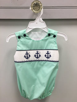 Mint Boy's Bubble with Smocked Anchor
