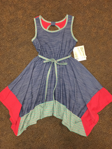Blue & Pink Handkerchief Dress Dress Bonnie Jean - Oma's Classic Children's Clothing