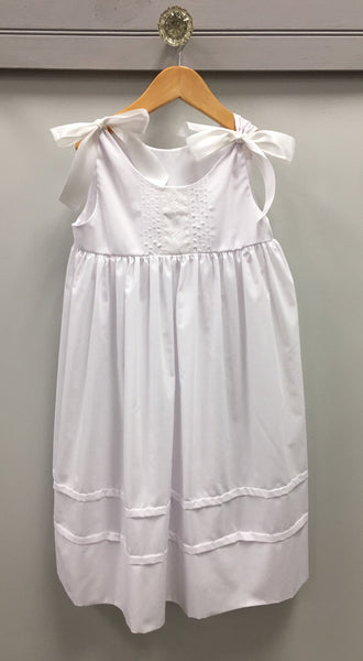 White Batiste Beach Dress with Ribbon Shoulder Ties Dress LaJenns - Oma's Classic Children's Clothing