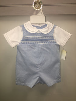 Geometric Smocked Romper Shortall Renzo - Oma's Classic Children's Clothing