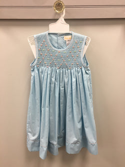 Blue Sleeveless Dress with Smocked Bodice and Embroidered Floral and Pearl Detail Dress Renzo - Oma's Classic Children's Clothing