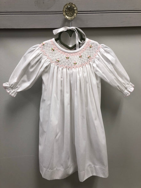 White/Pink Daygown w/ Bonnet