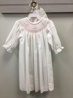 White Long Sleeve Pink Cross Daygown and Bonnet