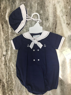 Boys' Sailor Romper with Embroidered Anchors Romper Renzo - Oma's Classic Children's Clothing