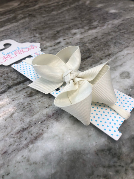 "3.5"" Bow on Headband Hair Accessories Beyond Creations - Oma's Classic Children's Clothing"