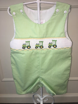 Green Gingham Tractor Smocked Jon Jon Shortall Southern Sweet - Oma's Classic Children's Clothing