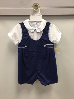 Navy Romper w/Tabs Romper Renzo - Oma's Classic Children's Clothing