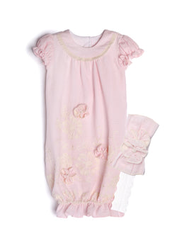 Courtney Layette Sack & Headband Gowns Isobella and Chloe - Oma's Classic Children's Clothing