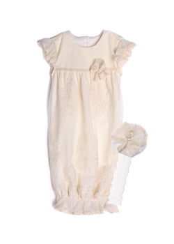 Gardenia Layette Sack & Headband Gowns Isobella and Chloe - Oma's Classic Children's Clothing