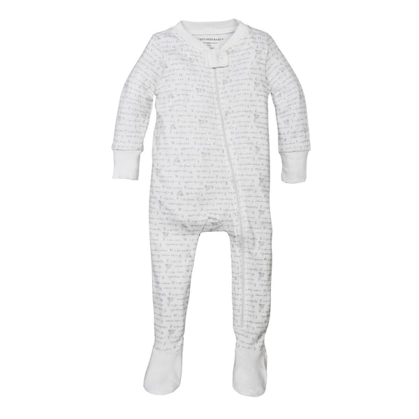Alphabet Bee Organic Baby Zip Up Footed Pajamas Bodysuits Burt's Bees Baby - Oma's Classic Children's Clothing