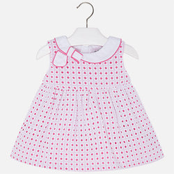 Dress with Bow on Collar Dress Mayoral - Oma's Classic Children's Clothing