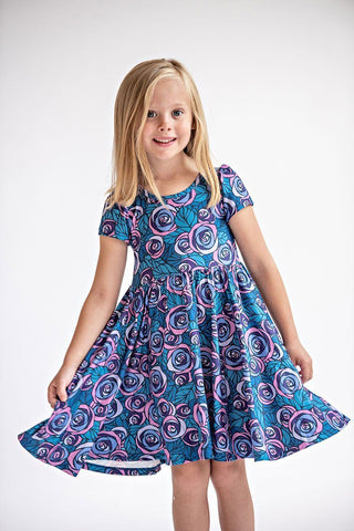 Belle Purple Rose Hugs Dress Dress Charlies Project - Oma's Classic Children's Clothing