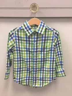 Green/Blue/White Gingham Dress Shirt Shirt South Bound - Oma's Classic Children's Clothing
