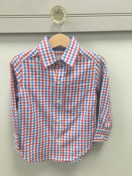 Red/White/Blue Gingham Dress Shirt Shirt South Bound - Oma's Classic Children's Clothing