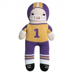 "7"" Purple/Gold Football Player Rattle Toys & Gifts Zubels - Oma's Classic Children's Clothing"