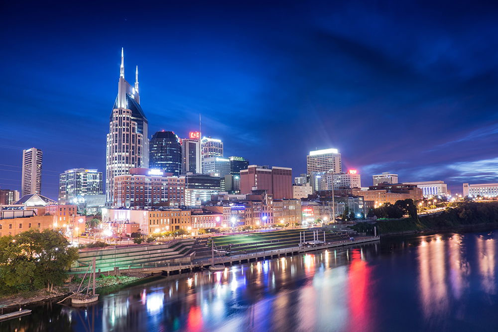 Nashville Skyline Over the River