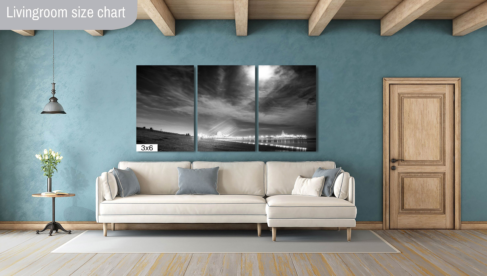 Santa Monica Beach Pier Los Angeles California Canvas Print Metal Art Cityscape Landmark Bedroom Livingroom wall art decor home poster