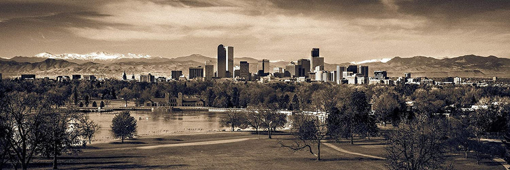 Denver Skyline Colorado Rocky Mountains City Park Photography Sepia Canvas Metal Print Livingroom Bedroom Wall Art Poster Decor Gift Present