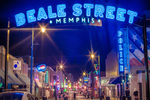 Memphis Tennessee Blue Beale Street Downtown Home of the Blues Photography landmark Canvas Metal Print wall decor art print