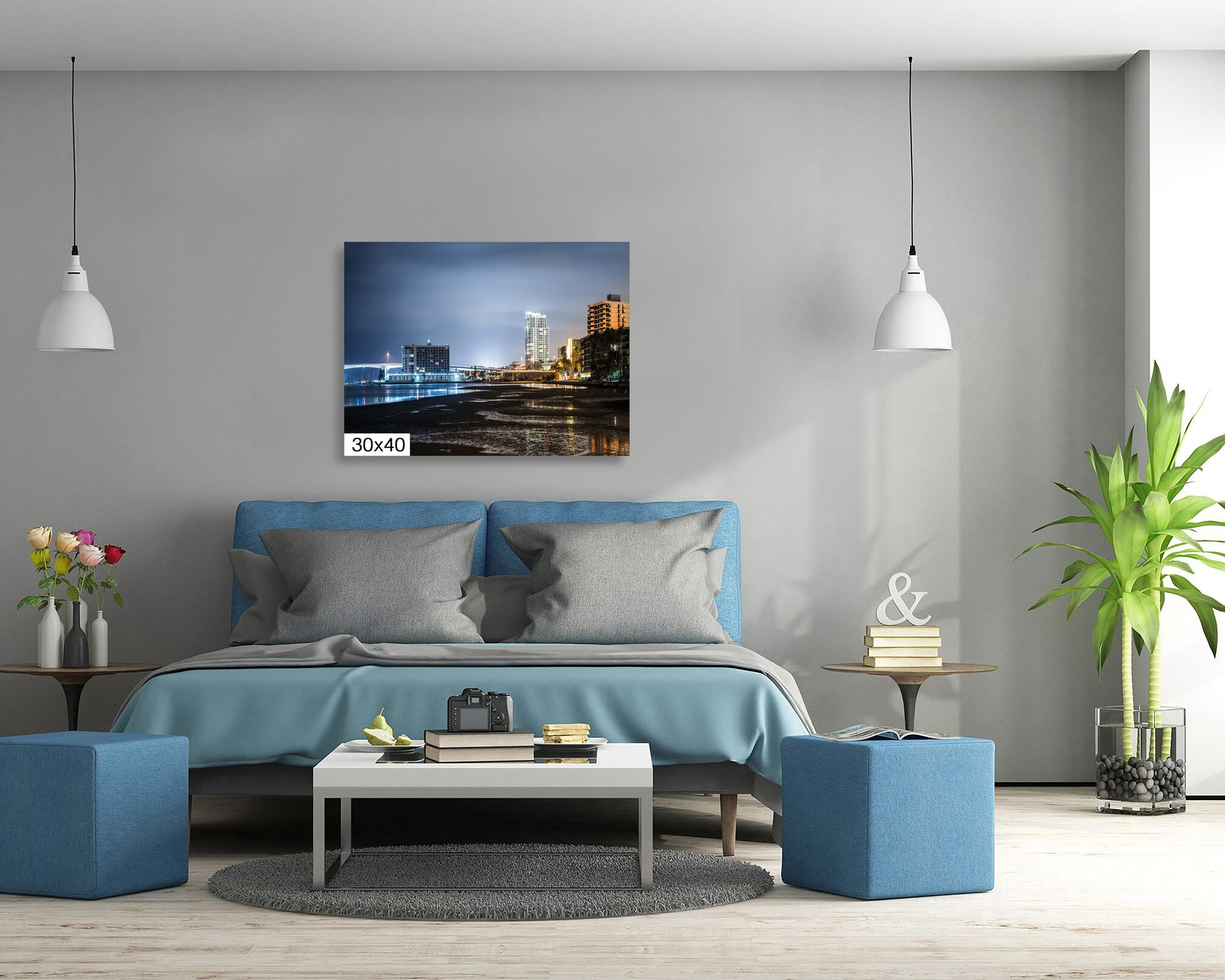Harbor Oaks Downtown Clearwater Memorial Bridge Florida Canvas Print Metal Art Cityscape Landmark Bedroom Livingroom wall art decor