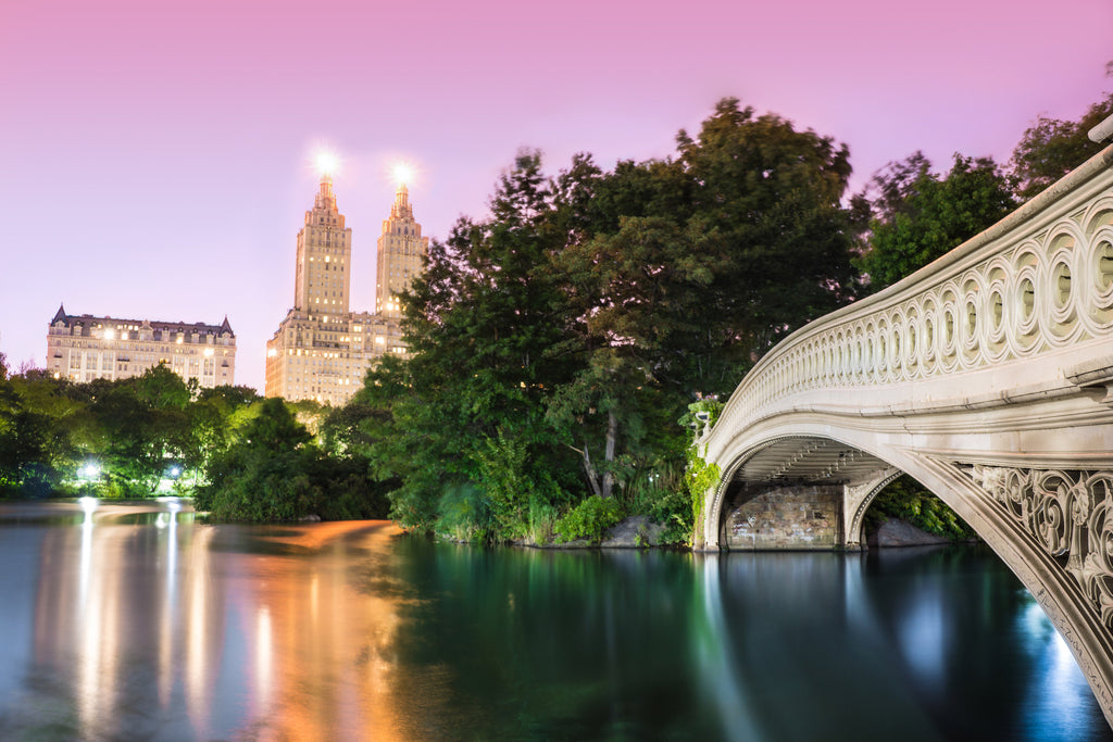 Central Park Bow Bridge Lake Manhattan New York City Photograph Canvas Print Metal Wall Art Decor Livingroom Bedroom Poster Gift Present