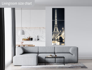 Eiffel Tower Paris France Downtown Photography Blue Canvas Metal Print Livingroom Bedroom Wall Art Poster Decor Europe Night Long Exposure