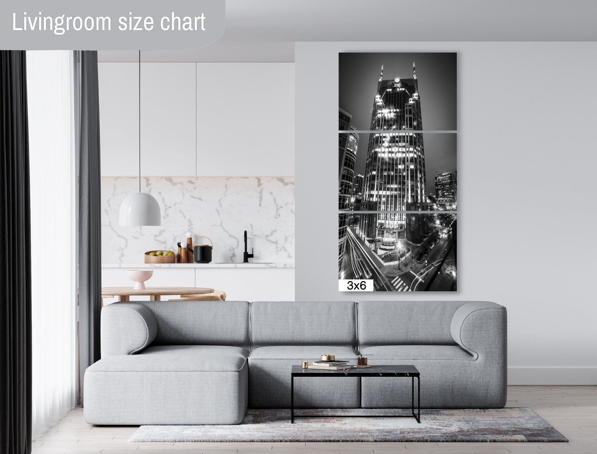 Nashville Tennessee Skyline Downtown AT&T Tower Photography black and white landmark Canvas Metal Print Livingroom Batman building wall art