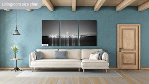 Clearwater Downtown Skyline Florida night Canvas Print Metal Art Cityscape Landmark B&W Bedroom Livingroom wall art decor