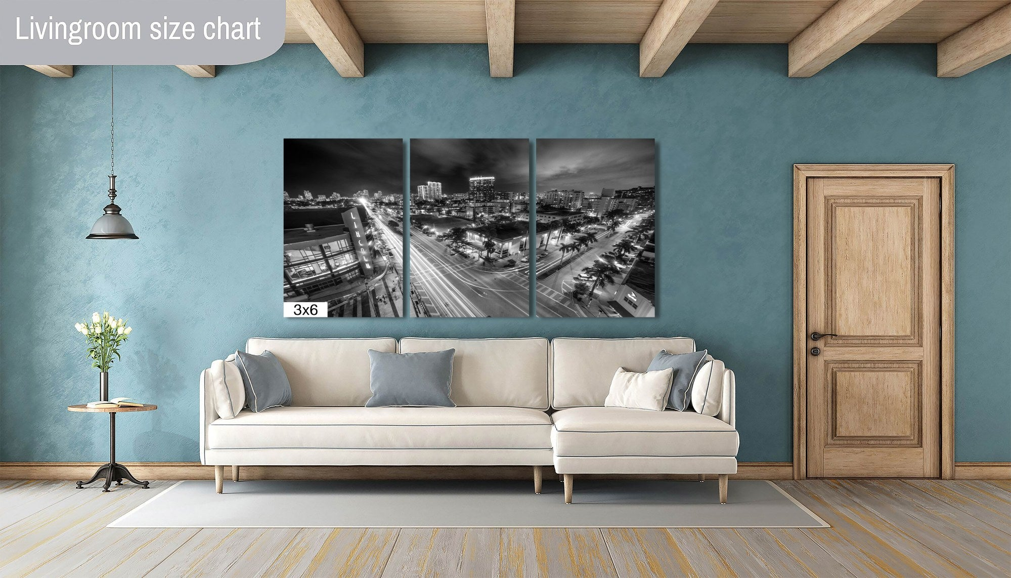 Downtown Miami Lincoln Road Florida Black and White B&W Photograph Canvas Print Metal Livingroom Art Wall Decor Home Gift Present Cityscape