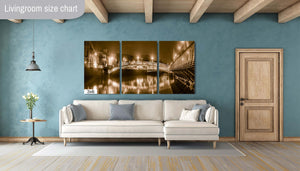 Ha'penny Bridge Downtown Dublin Ireland Canvas Print Metal Art Cityscape Landmark Bedroom Livingroom wall art decor