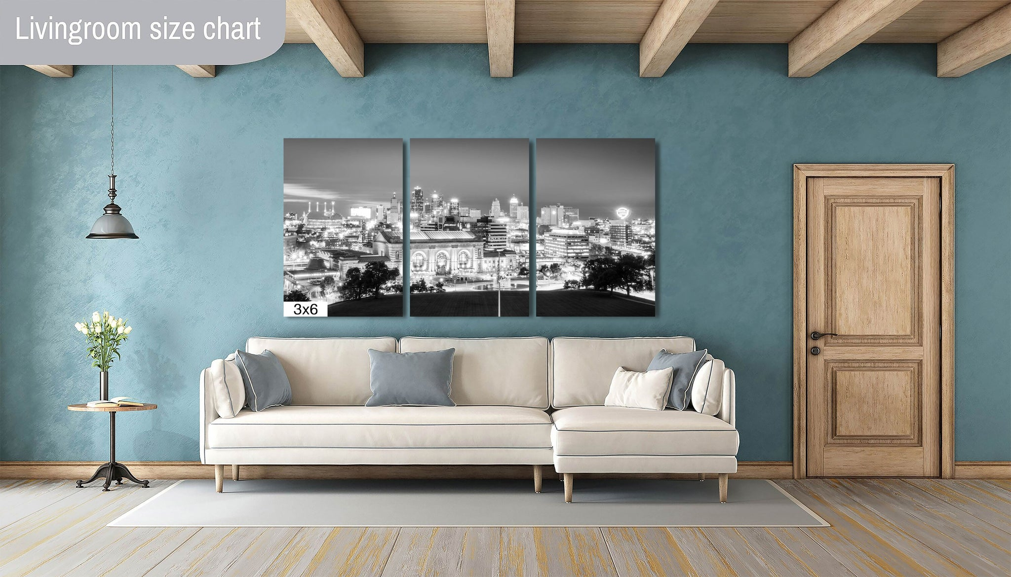 Kansas City Skyline Downtown Union Station Photography black and white B&W landmark Canvas Metal Print Livingroom Bedroom wall art poster
