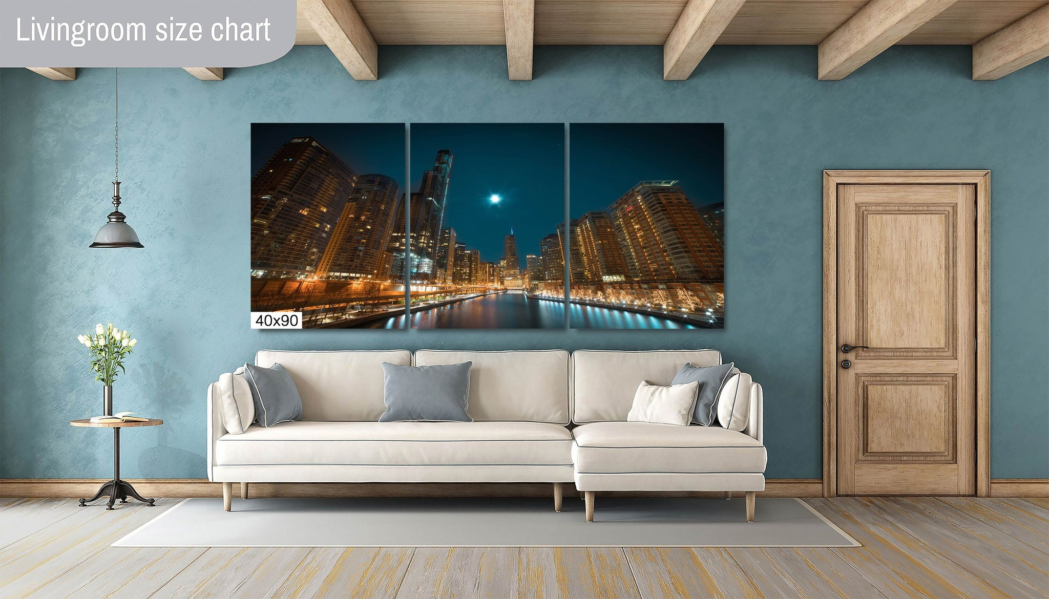 Chicago River Moonlight Photography Metal Print Wall Art Picture Home Decor Poster Landmark Bedroom Livingroom